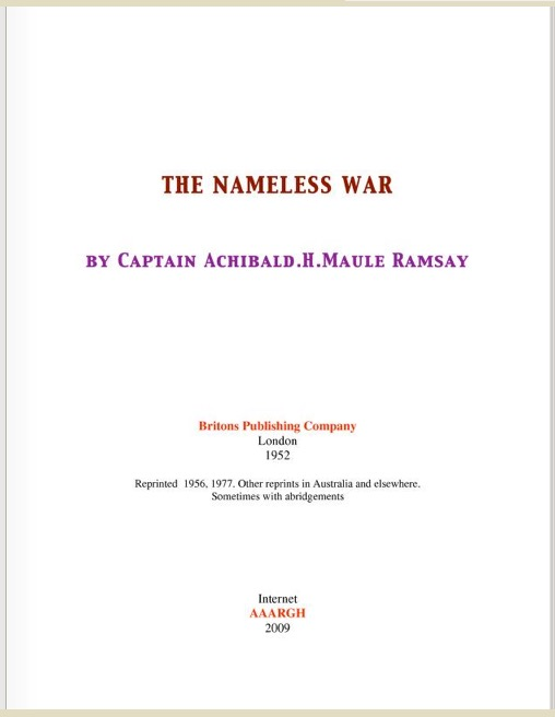 1.The Nameless War by Captain Archibald.H.Maule Ramsay- The.Nameless.War (archive.org)