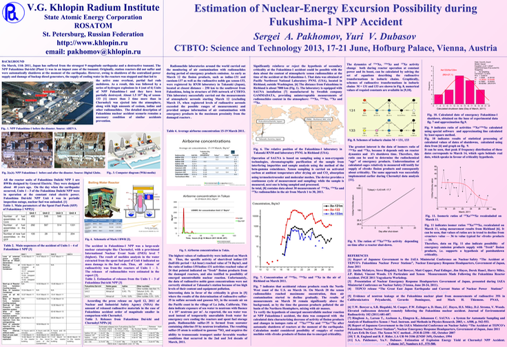 20130423 _cover- Estimation of Nuclear-Energy Excursion Possibility during Fukushima-1 NPP Accident-poster session, T2-P22