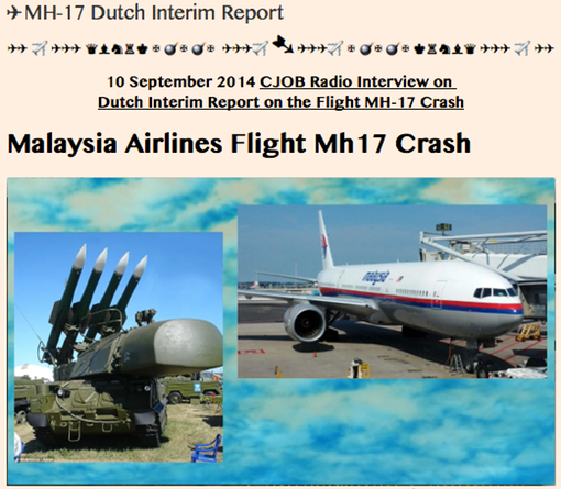 20140910 TITLE PLATE- MH-17 Dutch Interim Report