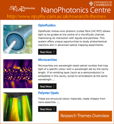 Cambridge Nano-Photonics Center, http-/www.np.phy.cam.ac.uk/research-themes