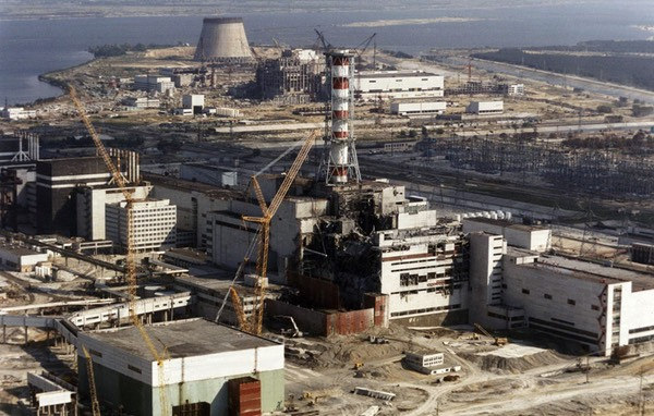 Chernobyl Nuclear Power Complex, Shortly After Disasterous Meltdown in 1986