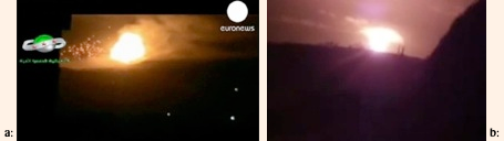 Image #15 DU burning (l), fireball Donetsk detonation (r)