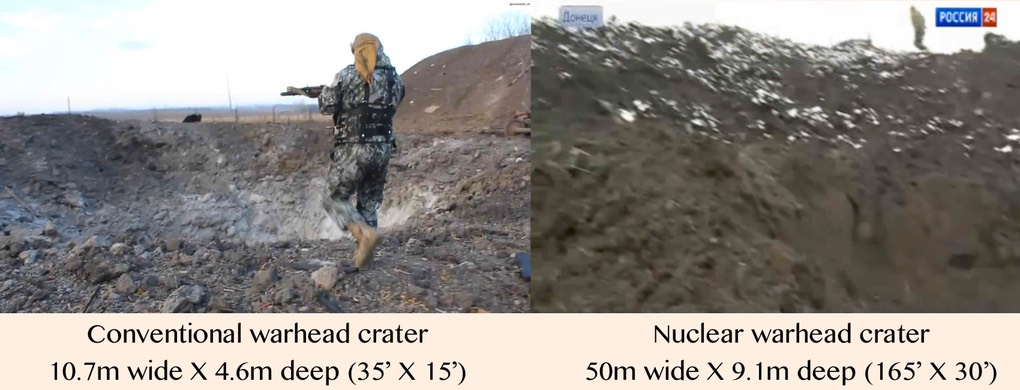 Image #2b (left) Missile crater conventional warhead 20141022 Pic 1.|(right) Missile crater nuclear warhead 20150209 Pic 4. [in crater looking up from cam location] - (for comparison w- Donetsk Nuke crater) Novorossiya News #15