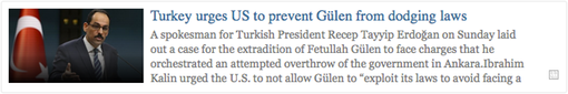 Link1- Turkey urges US to prevent Gülen from dodging laws