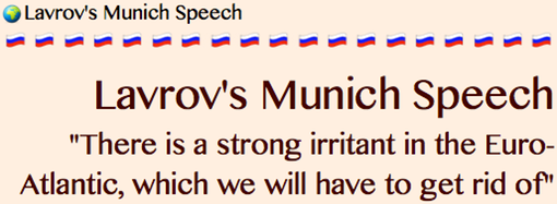 SECTION LINK- Lavrov's Munich Speech