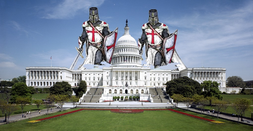 Templar Knights Over Congress Building -(3Kx1556pix) (parkside entrance)